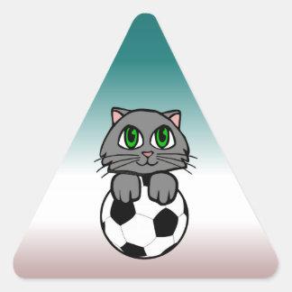 Soccer Kitten Triangle Sticker