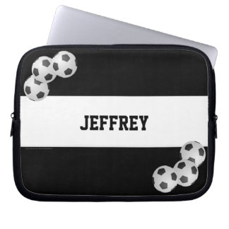 Soccer Laptop Computer Sleeve, Black and White Computer Sleeves