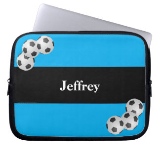 Soccer Laptop Computer Sleeve, Blue & Black Computer Sleeve