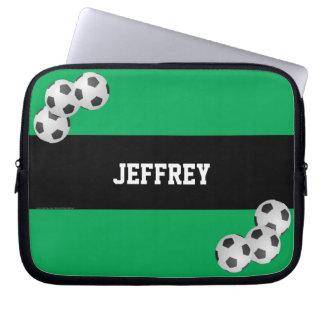 Soccer Laptop Computer Sleeve, Green & Black Laptop Sleeve