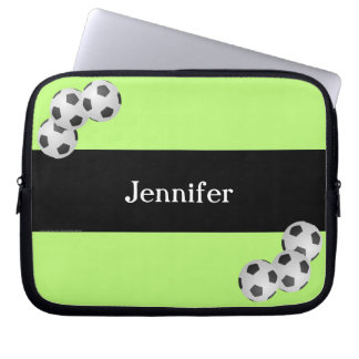 Soccer Laptop Computer Sleeve, Kiwi & Black Computer Sleeve