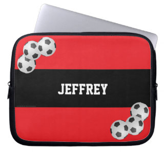 Soccer Laptop Computer Sleeve, Red and Black Laptop Computer Sleeves
