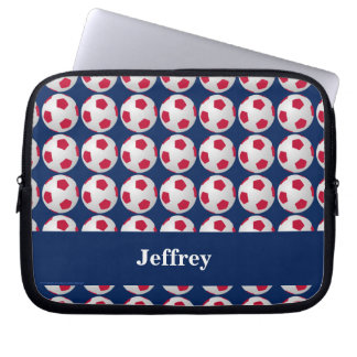 Soccer Laptop Computer Sleeve, Red White and Blue Laptop Computer Sleeve