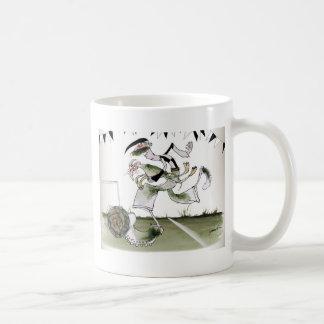 soccer left winger black + white kit coffee mug