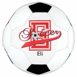 Soccer Letter E Word Art | DIY Name | Red Soccer Ball