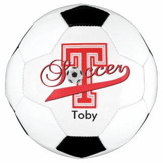 Soccer Letter T Word Art | DIY Name | Red Soccer Ball
