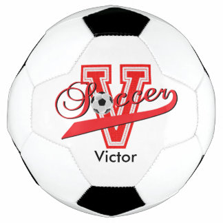 Soccer Letter V Word Art | DIY Name | Red Soccer Ball