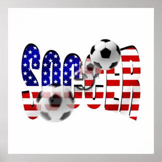 Soccer Logo Shoot flag of the USA Goal Gear Poster