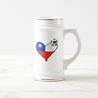 Soccer love Chile style heart and soccer ball Beer Stein