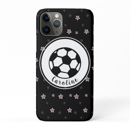 Soccer Love Cute Stars Pattern Girls Personalized iPhone 11 Pro Case