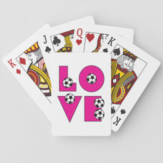 Soccer Love in Pink Playing Cards