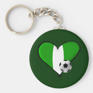 Soccer love Nigerian style - Naija flag heart Keychain