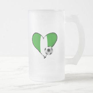 Soccer love Nigerian style - Naija flag heart 16 Oz Frosted Glass Beer Mug