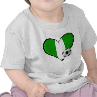 Soccer love Nigerian style - Naija flag heart Shirt