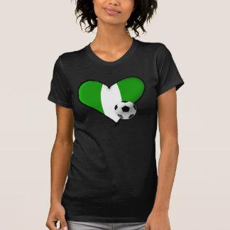 Soccer love Nigerian style - Naija flag heart T Shirt
