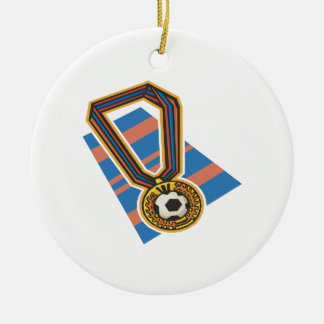 Soccer Medal Double-Sided Ceramic Round Christmas Ornament