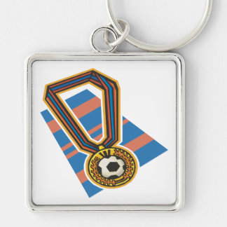 Soccer Medal Silver-Colored Square Keychain