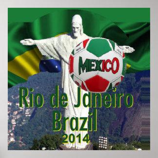 Soccer Mexico Rio de Janeiro Brazil POSTER Print