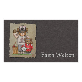 Soccer Mom & Kid Bears Double-Sided Standard Business Cards (Pack Of 100)