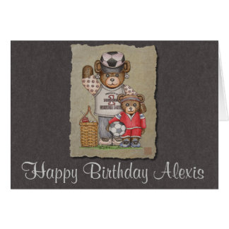 Soccer Mom & Kid Bears Greeting Card