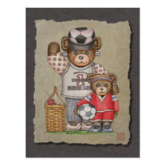 Soccer Mom & Kid Bears Postcard