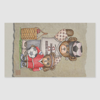 Soccer Mom & Kid Bears Rectangular Sticker