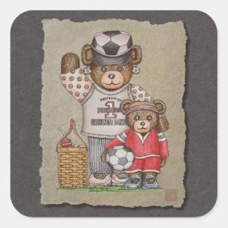 Soccer Mom & Kid Bears Square Sticker