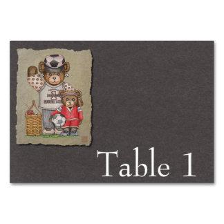 Soccer Mom & Kid Bears Table Cards