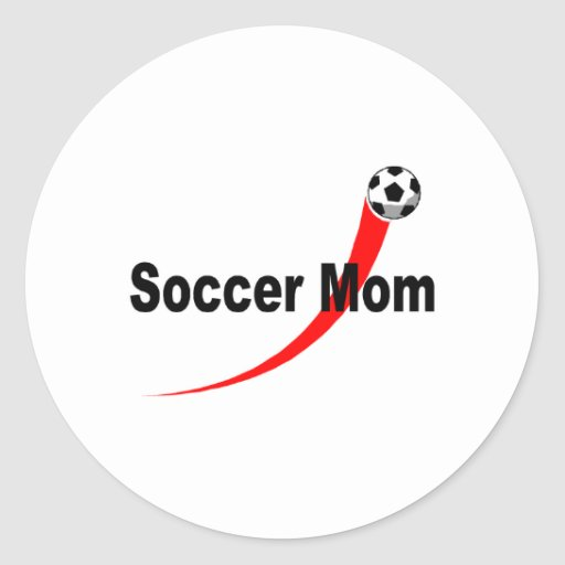 Soccer Mom (Rd/Blk) Classic Round Sticker