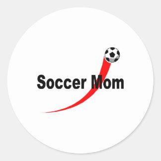 Soccer Mom (Rd/Blk) Classic Round Sticker