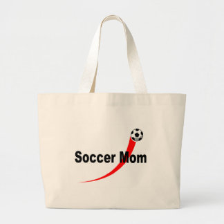 Soccer Mom (Red/Blk) Large Tote Bag