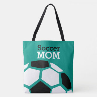 Soccer Mom Trendy Stylish Soccer Ball Green Tote Bag