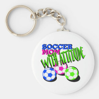 Soccer Mom with Attitude Basic Round Button Keychain