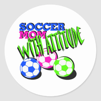 Soccer Mom with Attitude Classic Round Sticker