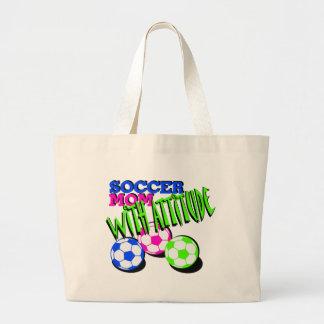 Soccer Mom with Attitude Jumbo Tote Bag
