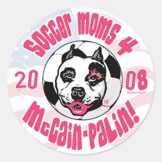Soccer Moms 4 McCain Palin Round Sticker