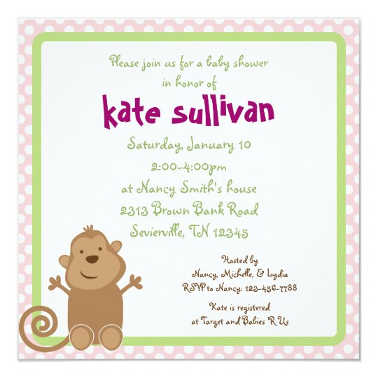 Soccer Monkey Square Baby Girl Shower Invitation