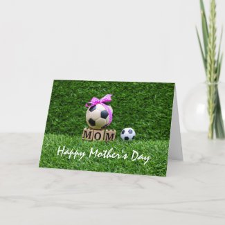 Soccer Mother's Day with ball and pink ribbon  Card