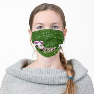 Soccer Mother's Day with ball and word MOM  Adult Cloth Face Mask