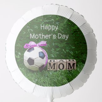 Soccer Mother's Day with ball and word MOM   Balloon