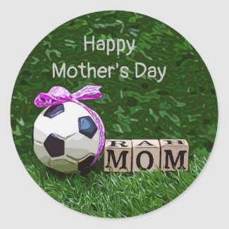 Soccer Mother's Day with ball and word MOM  Classic Round Sticker