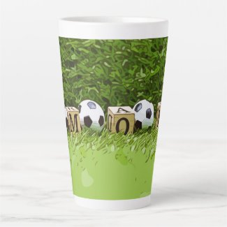 Soccer Mother's Day with ball  and word MOM  Coffe Latte Mug