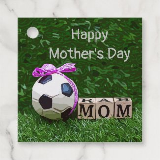 Soccer Mother's Day with ball and word MOM  Favor Tags