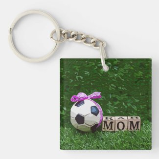 Soccer Mother's Day with ball and word MOM  Keycha Keychain