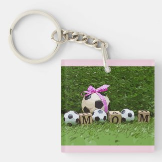 Soccer Mother's Day with ball and word MOM  Keychain
