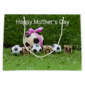 Soccer Mother's Day with ball and word MOM Large G Large Gift Bag