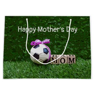 Soccer Mother's Day with ball and word MOM Large Gift Bag