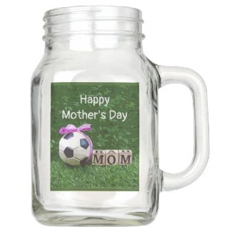 Soccer Mother's Day with ball and word MOM   Mason Jar