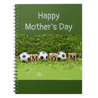 Soccer Mother's Day with ball and word MOM   Notebook