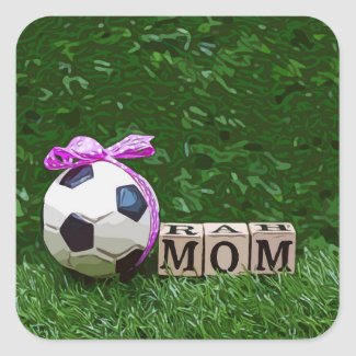 Soccer Mother's Day with ball and word MOM  Square Sticker